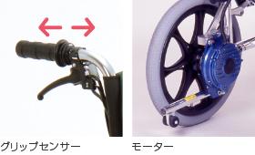 独自に開発したセンサー内蔵グリップ。上り坂ではモーターがアシストし、下り坂では自動的にブレーキをかけます。